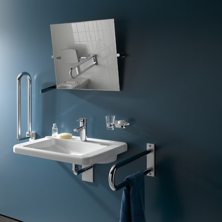 Accessible Bathrooms - Two foldable handrails beside a sink with a square mounted wall mirror